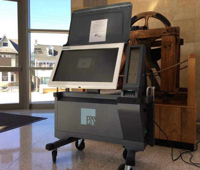 One of Northampton County's 320 new Election Systems & Software ExpressVote XL machines is displayed Oct. 24, 2019, in the lobby of the county courthouse in Easton.