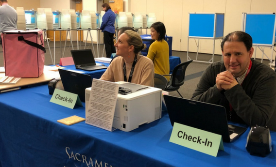 Sacramento County voter check in station