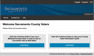 Democracy Live Secure Select remote Ballot Marking System Sacramento County Welcome Screen