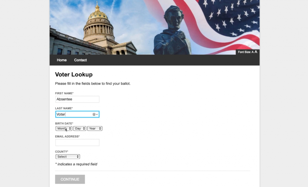 Democracy Live OmniBallot Online Remote Ballot Marking System Voter Lookup Screen
