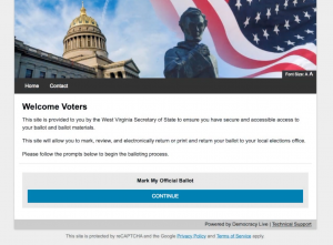 Democracy Live OmniBallot Online Remote Ballot Marking System Welcome Screen