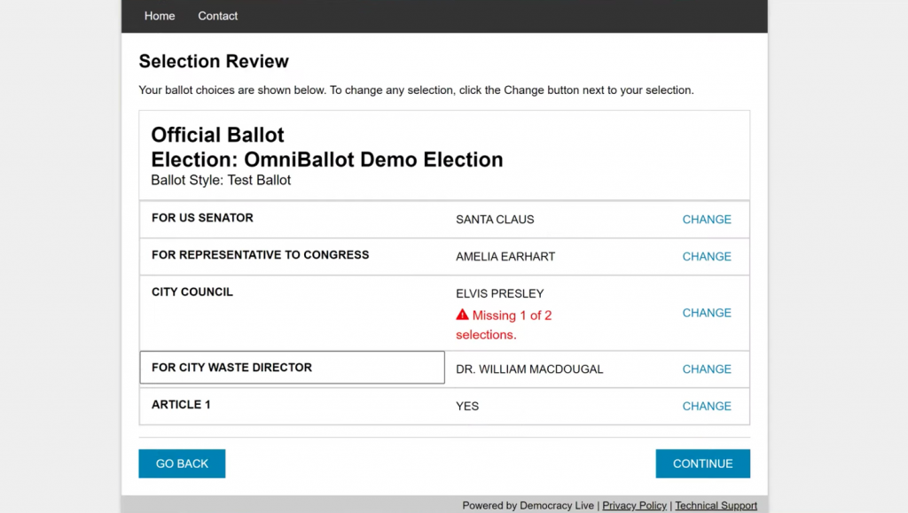 Democracy Live OmniBallot Online review screen