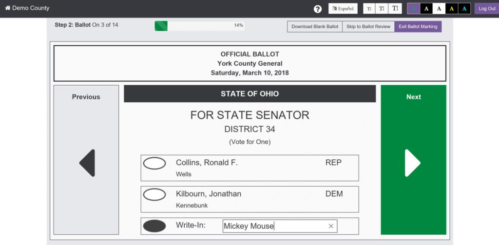 Enhanced Voting write in sample