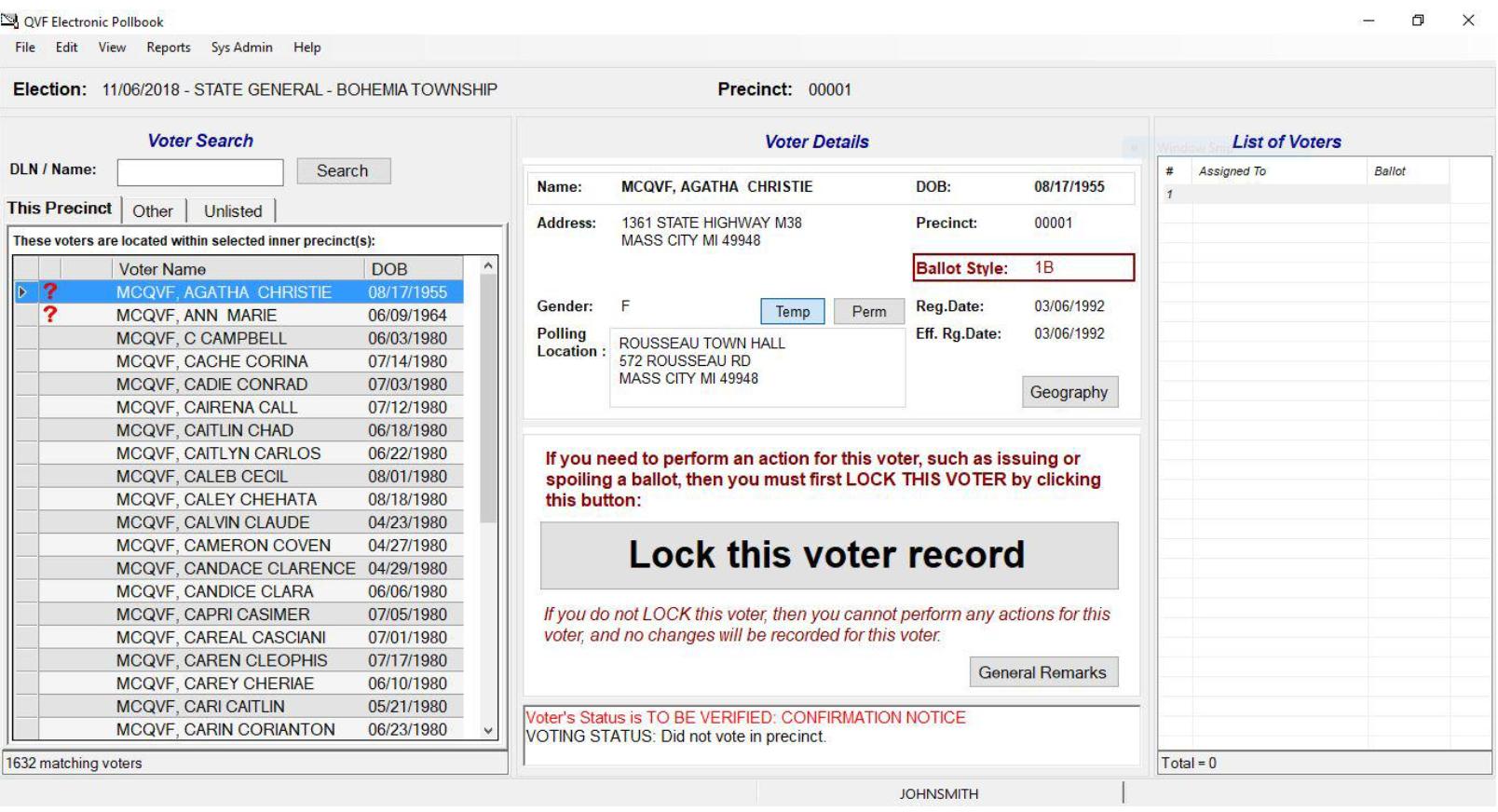 Michigan Electronic Pollbook home screen