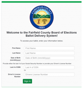 MyBallot remote balot marking system Fairfield County welcome screen