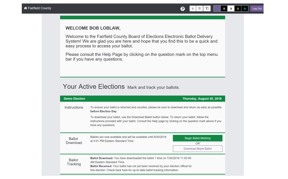 MyBallot remote balot marking system welcome voter screen and instructions