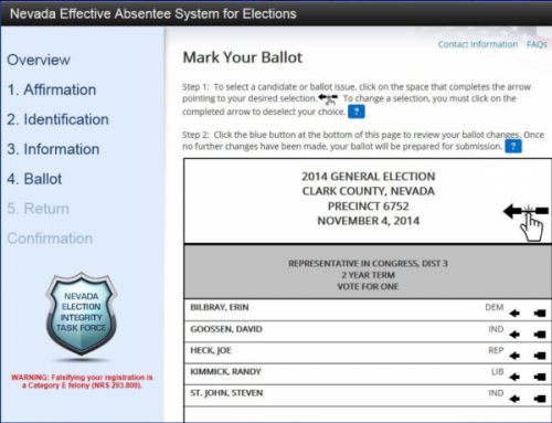 Nevada EASE remote ballot marking system ballot marking screen