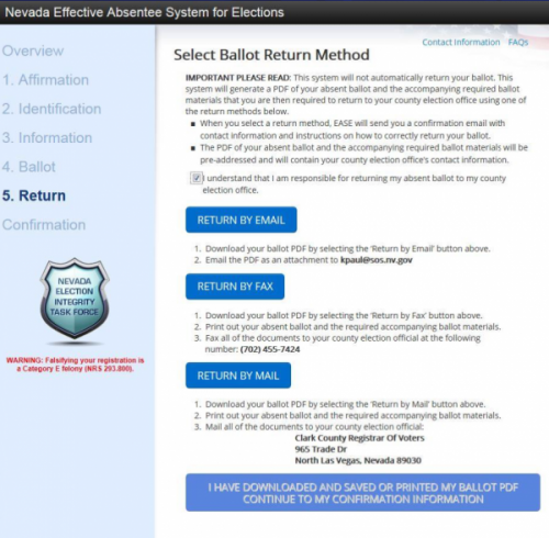 Nevada EASE remote ballot marking system select return method screen