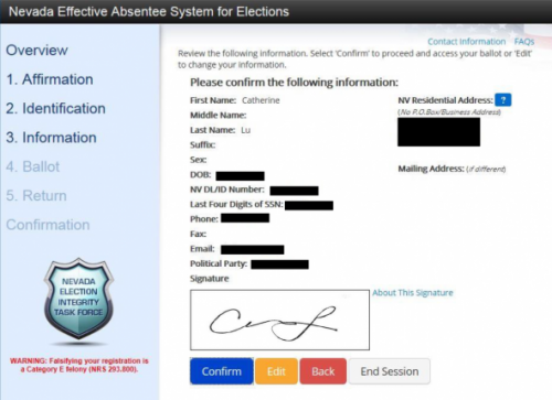 Nevada EASE remote ballot marking system confirm information and signature