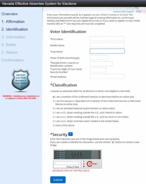 Nevada EASE remote ballot marking system voter input information screen