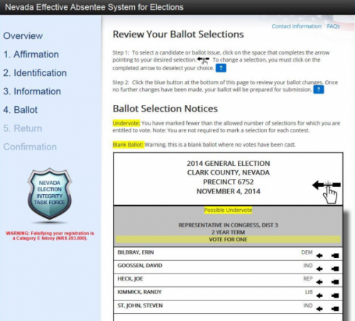 Nevada EASE remote ballot marking system review ballot selections screen