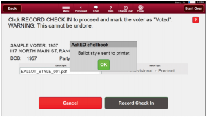 Robis AskED ePollbook ballot printed screen
