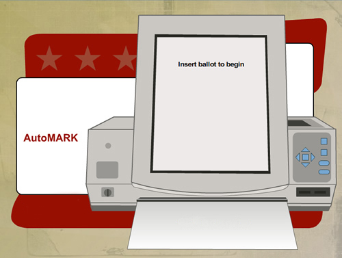 AutoMARK illustration of insert ballot screen