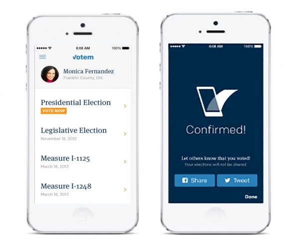 Votem mobile voting app measures and confirmed screen