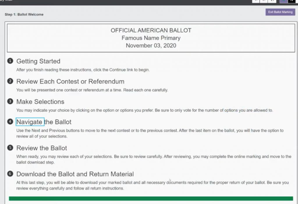 VotingWorks Accessible Vote-by-Mail instruction screen