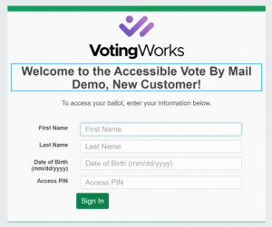 VotingWorks Accessible Vote-by-Mail login screen