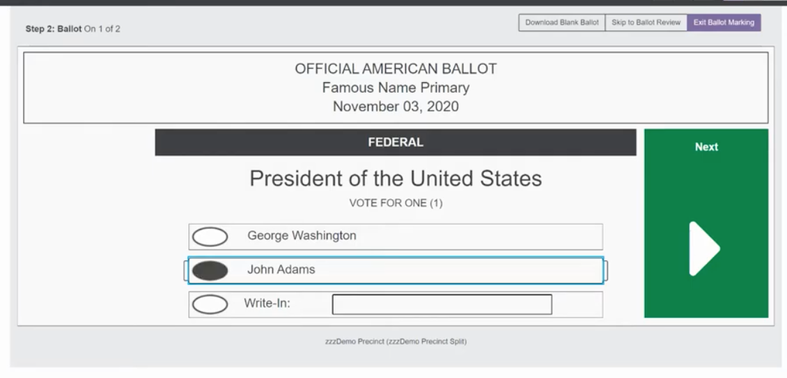 VotingWorks Accessible Vote-by-Mail ballot marking sample with oval selected for candidate