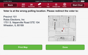 Robis AskED ePollbook redirect voter screen