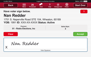 Robis AskED ePollbook voter signature screen