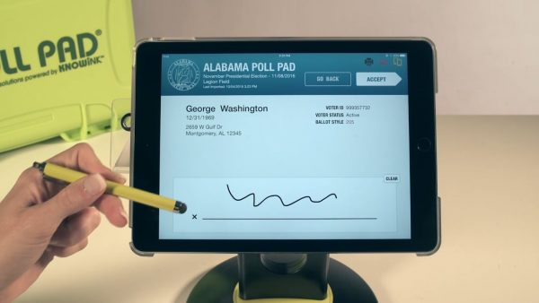 Alabama's KNOWiNK Poll Pad electronic poll book signature screen