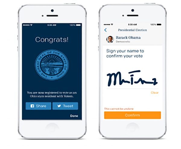 Votem mobile app signature and congratulations screens