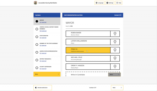 VSAP interactive sample ballot_ballot marking demonstration